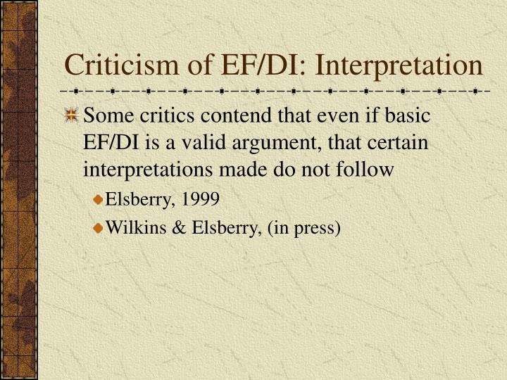 Criticism of EF/DI: Interpretation