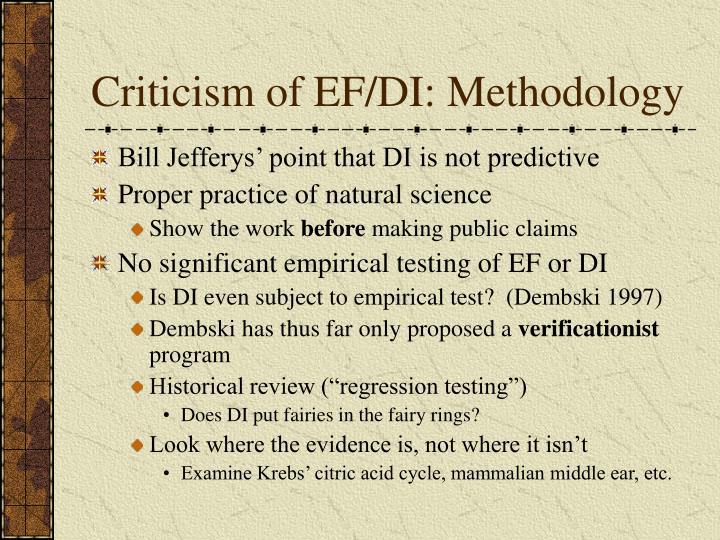 Criticism of EF/DI: Methodology