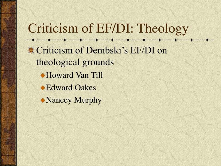 Criticism of EF/DI: Theology