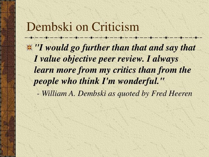 Dembski on Criticism