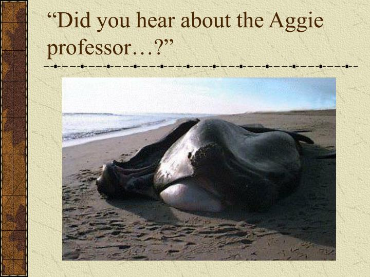 Did you hear about the aggie professor