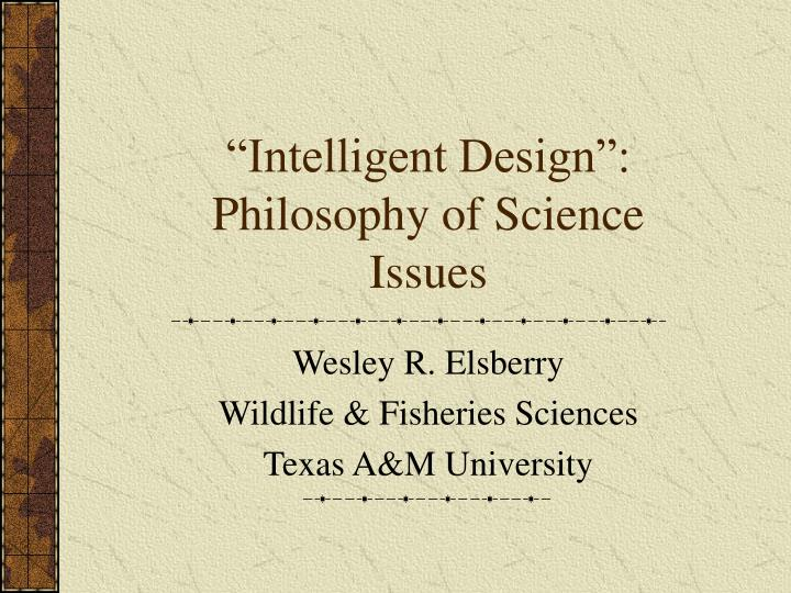 Intelligent design philosophy of science issues