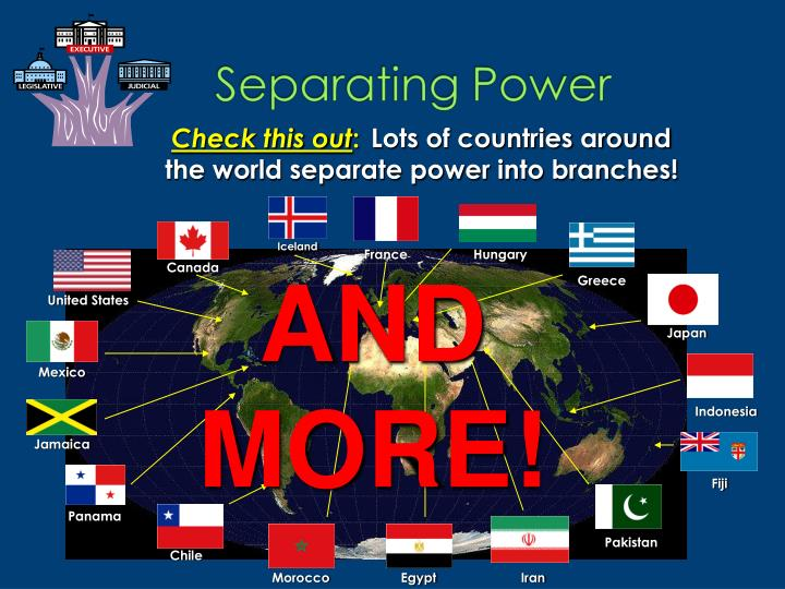 Lots of countries around the world separate power into branches!