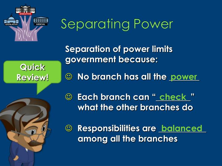 Separation of power limits government because: