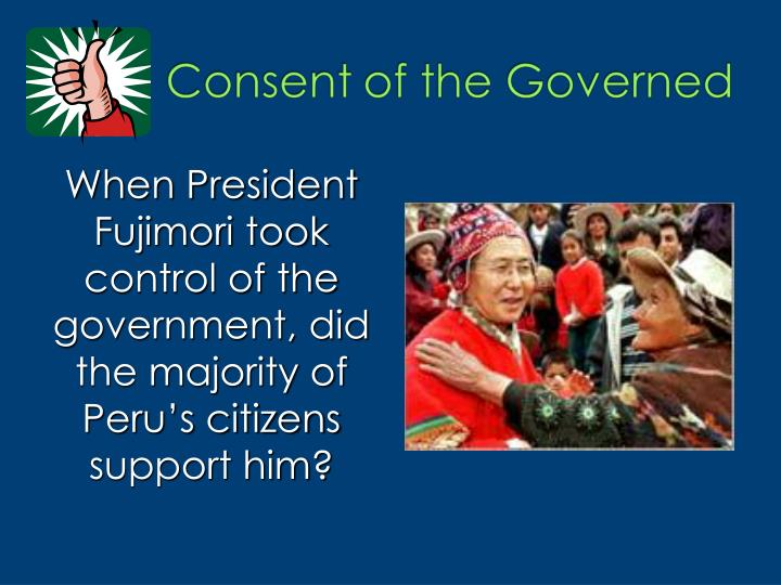 When President Fujimori took control of the government, did the majority of Peru's citizens support him?