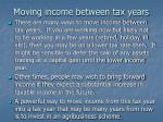 moving income between tax years