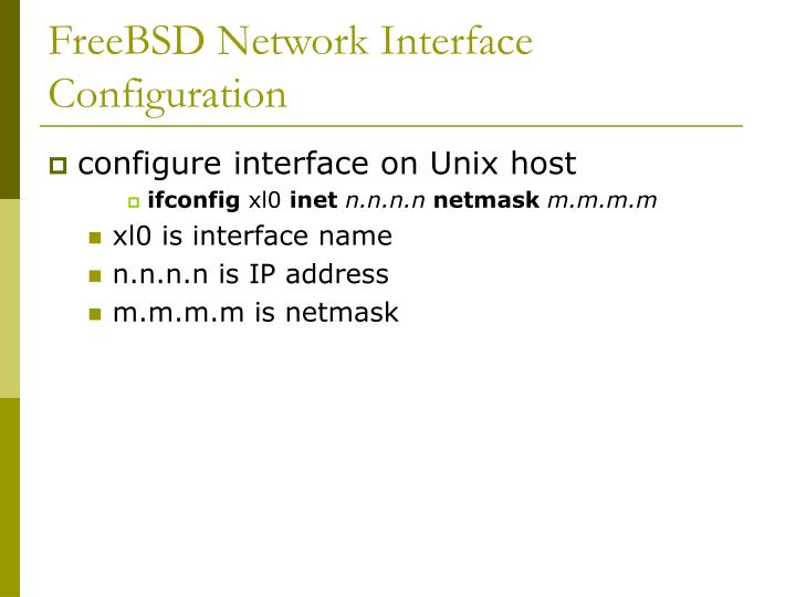 FreeBSD Network Interface Configuration