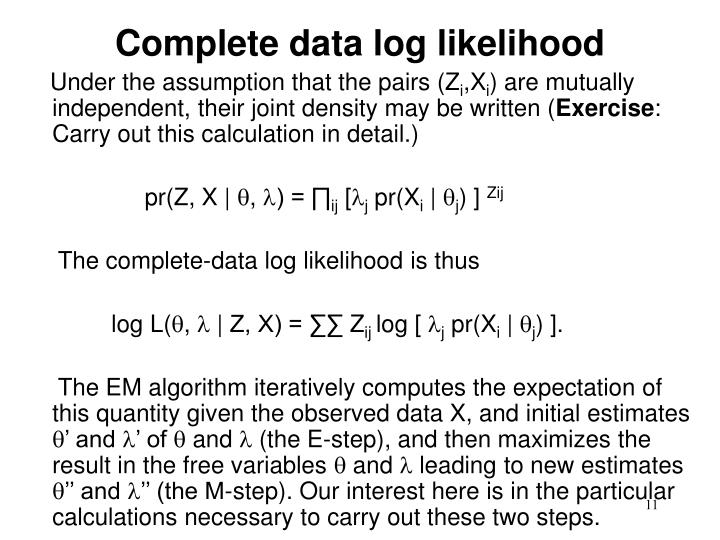 Complete data log likelihood