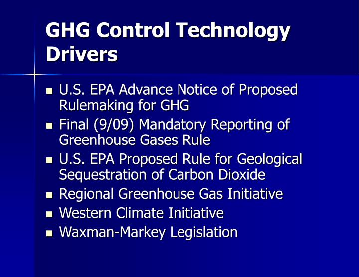 GHG Control Technology Drivers