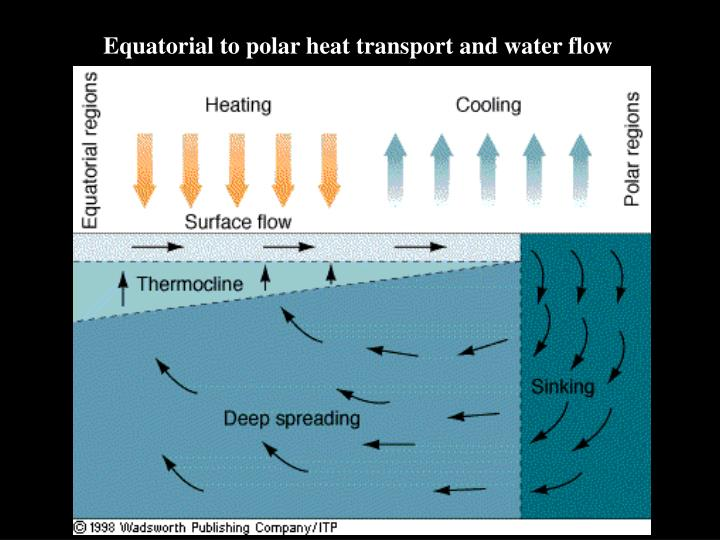 Equatorial to polar heat transport and water flow