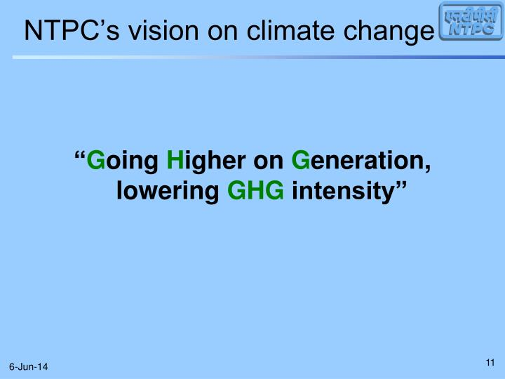 NTPC's vision on climate change