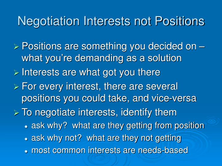 Negotiation Interests not Positions