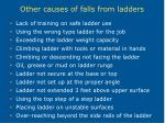 other causes of falls from ladders