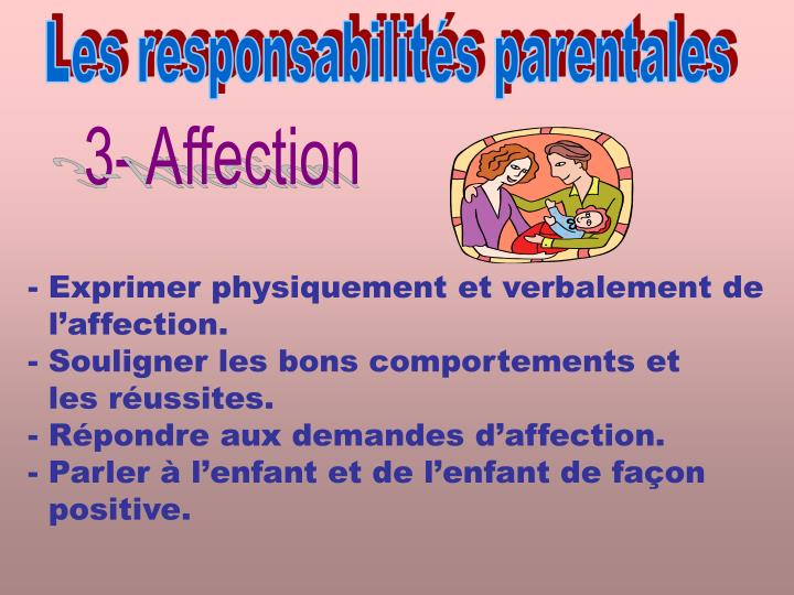Les responsabilités parentales
