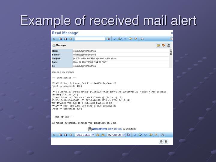 Example of received mail alert