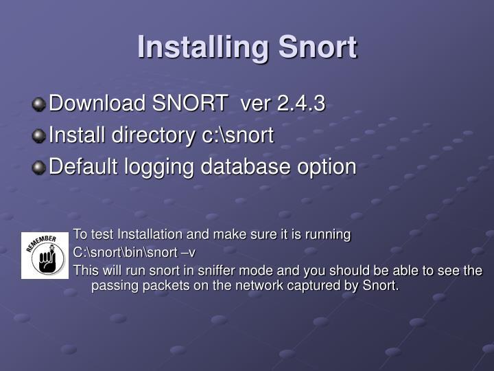 Installing Snort