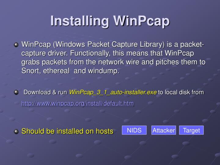 Installing WinPcap