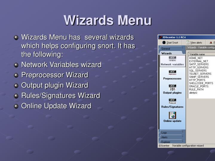 Wizards Menu