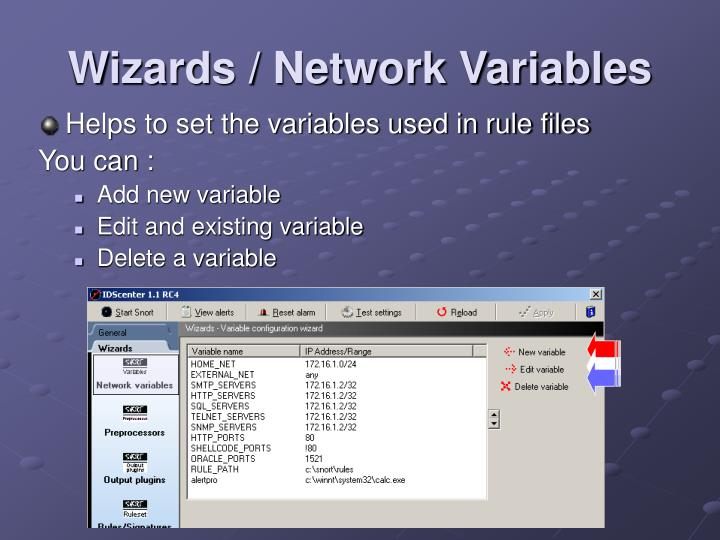 Wizards / Network Variables