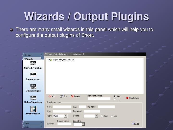 Wizards / Output Plugins