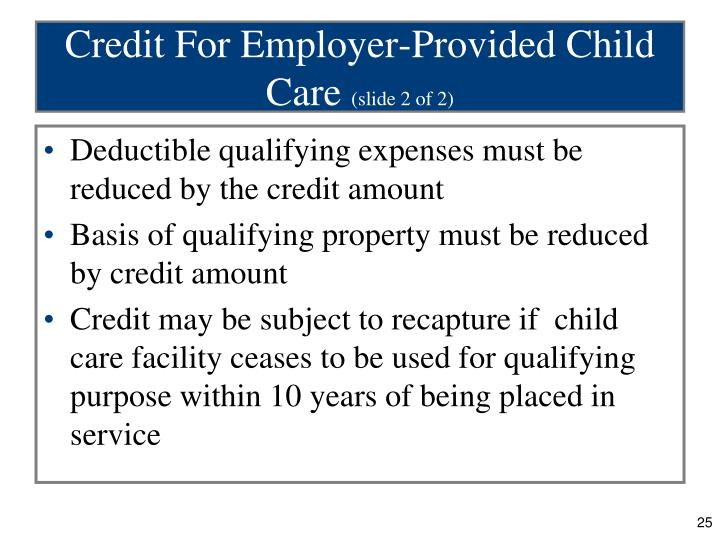 Credit For Employer-Provided Child Care