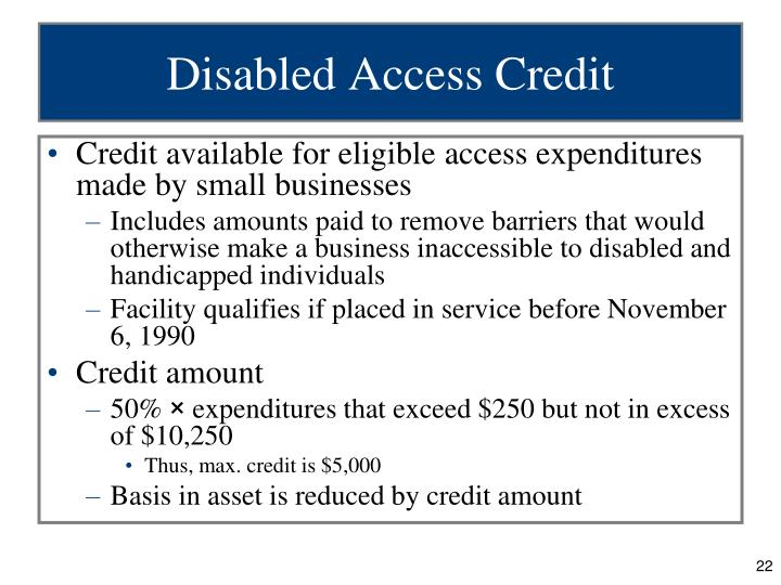 Disabled Access Credit
