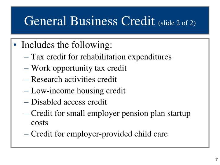 General Business Credit