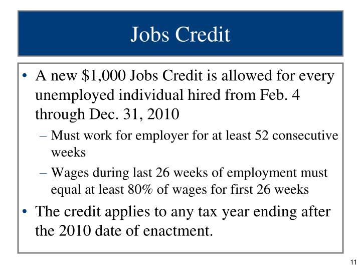 Jobs Credit