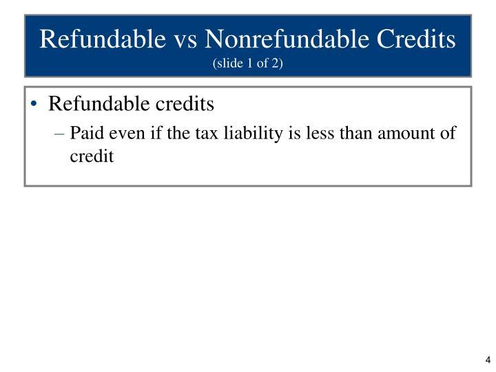 Refundable vs Nonrefundable Credits