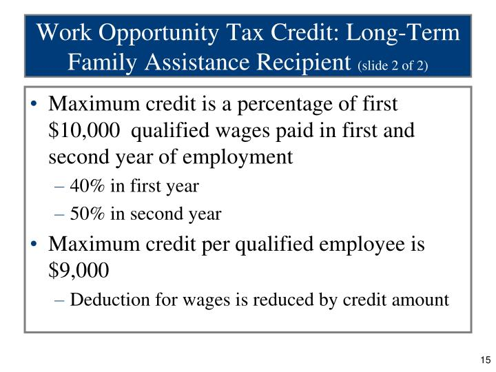 Work Opportunity Tax Credit: Long-Term Family Assistance Recipient