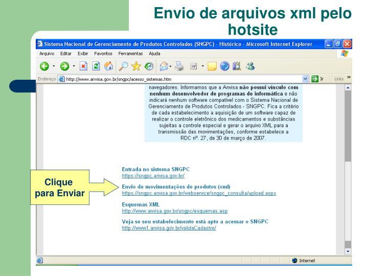 Envio de arquivos xml pelo hotsite
