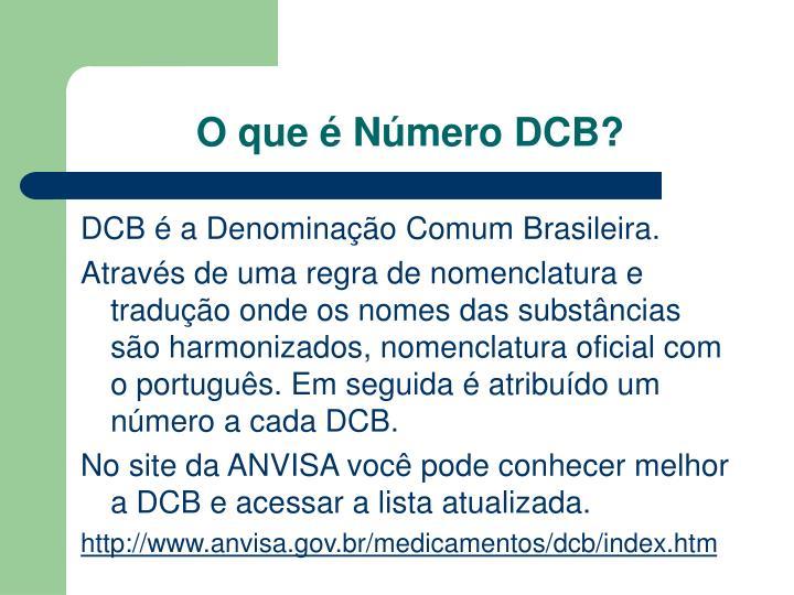 O que é Número DCB?