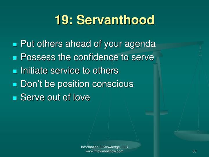 19: Servanthood