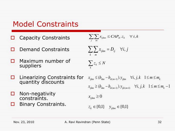 Model Constraints