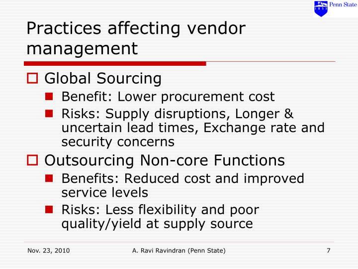 Practices affecting vendor management