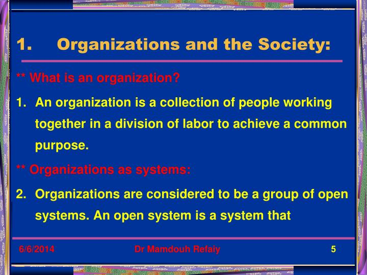 Organizations and the Society: