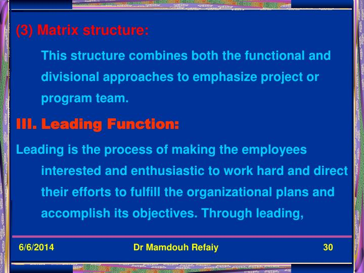 (3) Matrix structure: