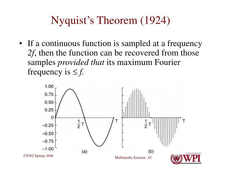 Nyquist's Theorem (1924)