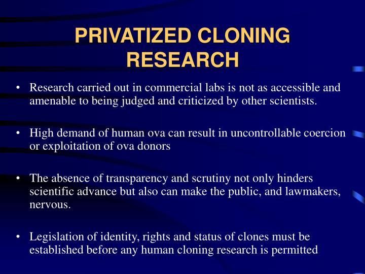 the description of cloning and the scientific advancement toward human cloning