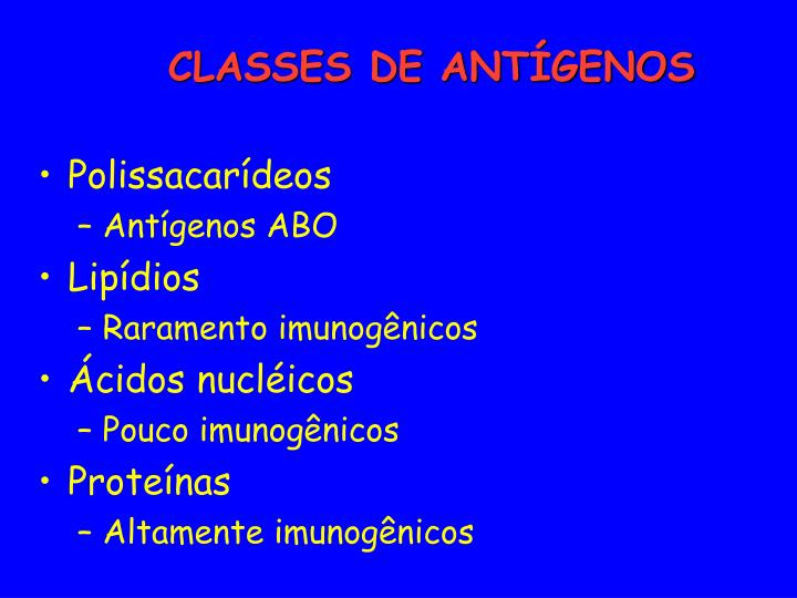 CLASSES DE ANTÍGENOS