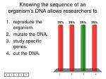 knowing the sequence of an organism s dna allows researchers to