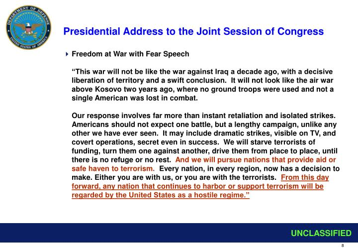 Presidential Address to the Joint Session of Congress