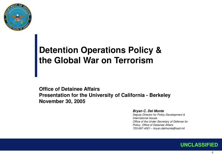 Detention Operations Policy &