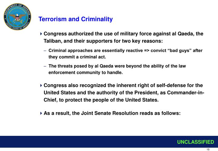 Terrorism and Criminality