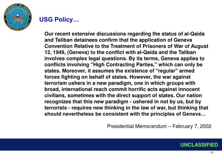 USG Policy…