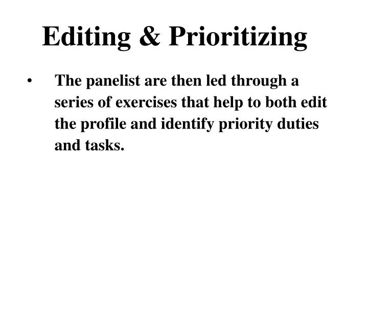 Editing & Prioritizing