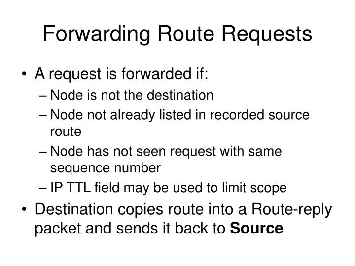 Forwarding Route Requests