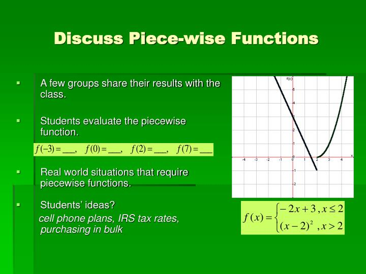 Discuss Piece-wise Functions