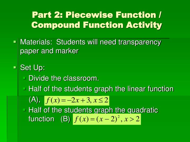 Part 2: Piecewise Function / Compound Function Activity