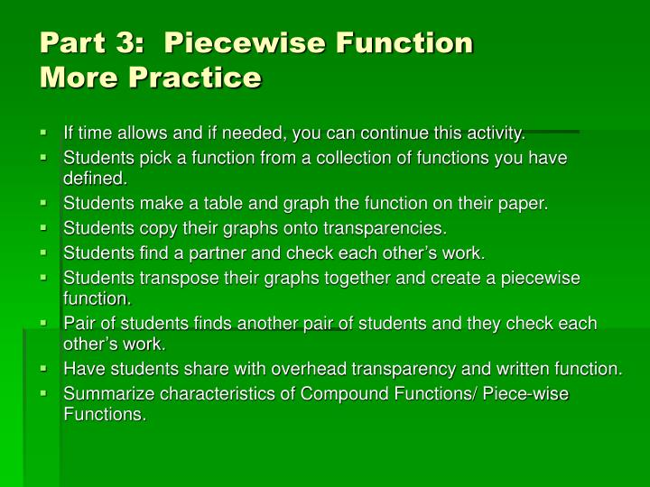 Part 3:  Piecewise Function